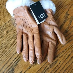 Ugg Gloves Womens Leather Small Brown Touch Screen